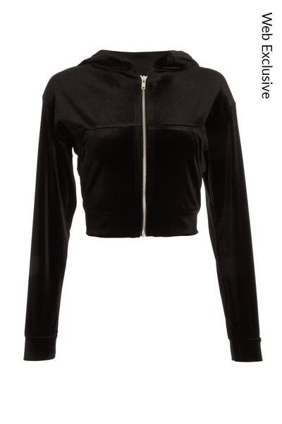 Black Velvet Zip Front Hoodie